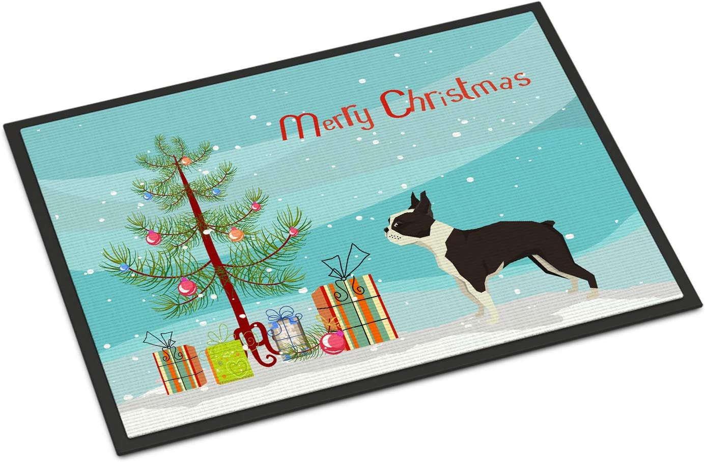 Caroline s Treasures CK3525MAT Boston Terrier Christmas Tree Indoor or Outdoor Mat 18×27, 18H X 27W, Multicolor