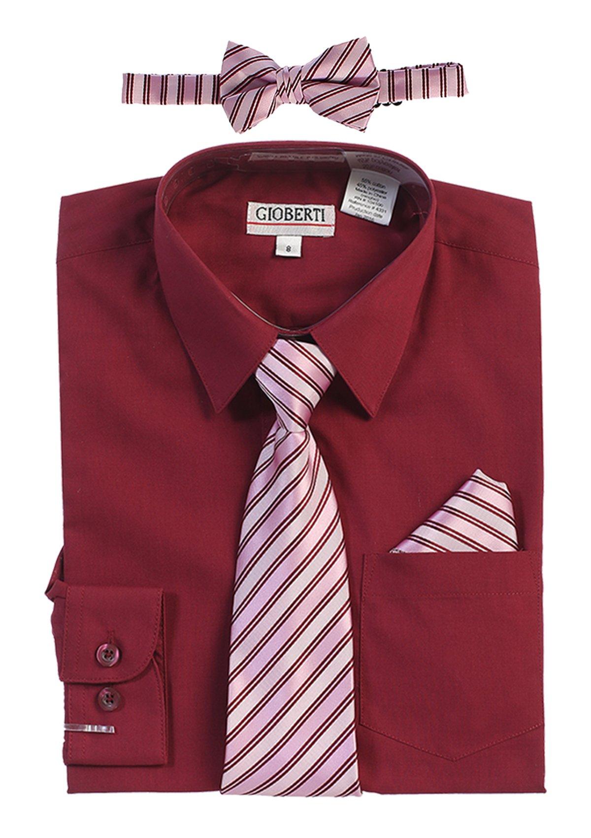 Gioberti Boy's Long Sleeve Dress Shirt and Stripe Zippered Tie Set, Burgundy, Size 14