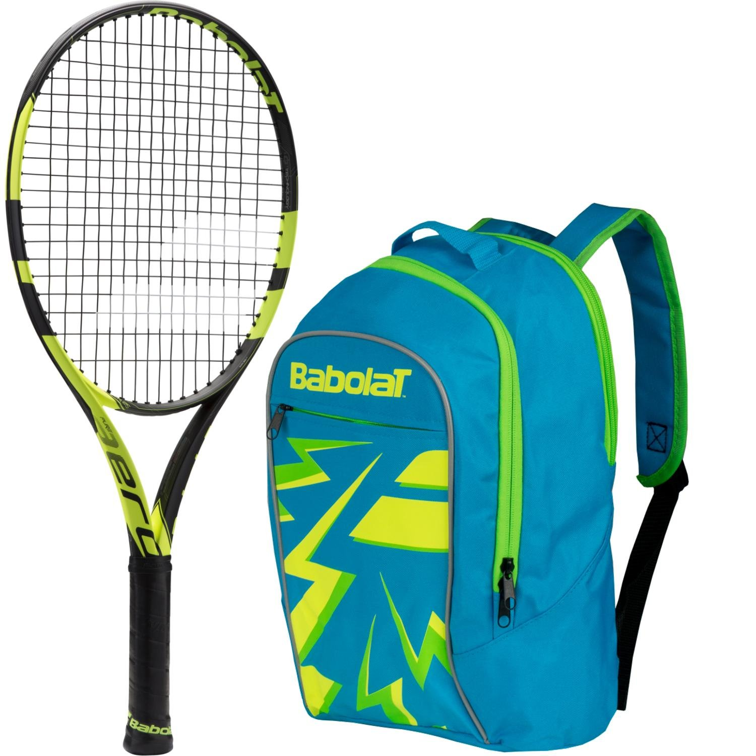 Babolat Pure Aero Junior 26 Inch Black/Yellow Tennis Racquet bundled with a Blue Child's Tennis Backpack