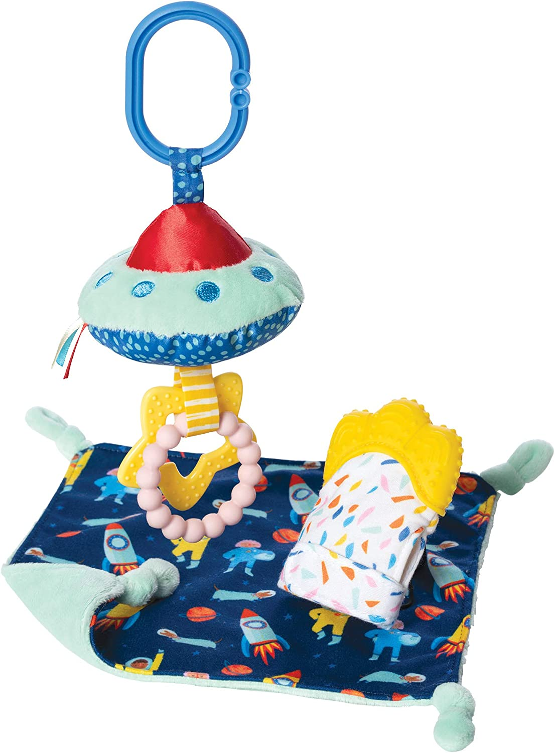 Manhattan Toy Space Themed Baby Gift Set with Silicone Teething Mitt, Soothing Baby Lovie & Clip-On Teether & Rattle