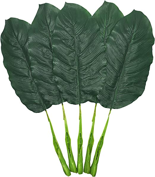 Amazon Com Fake Leaves 25 Large Artificial Palm Leaves Banana Leaves Tropical Plant Green Single Leaf Palm Fronds Hawaiian Luau Party Theme Palm Sunday Decorations 5 Pcs Dark Green Home Kitchen