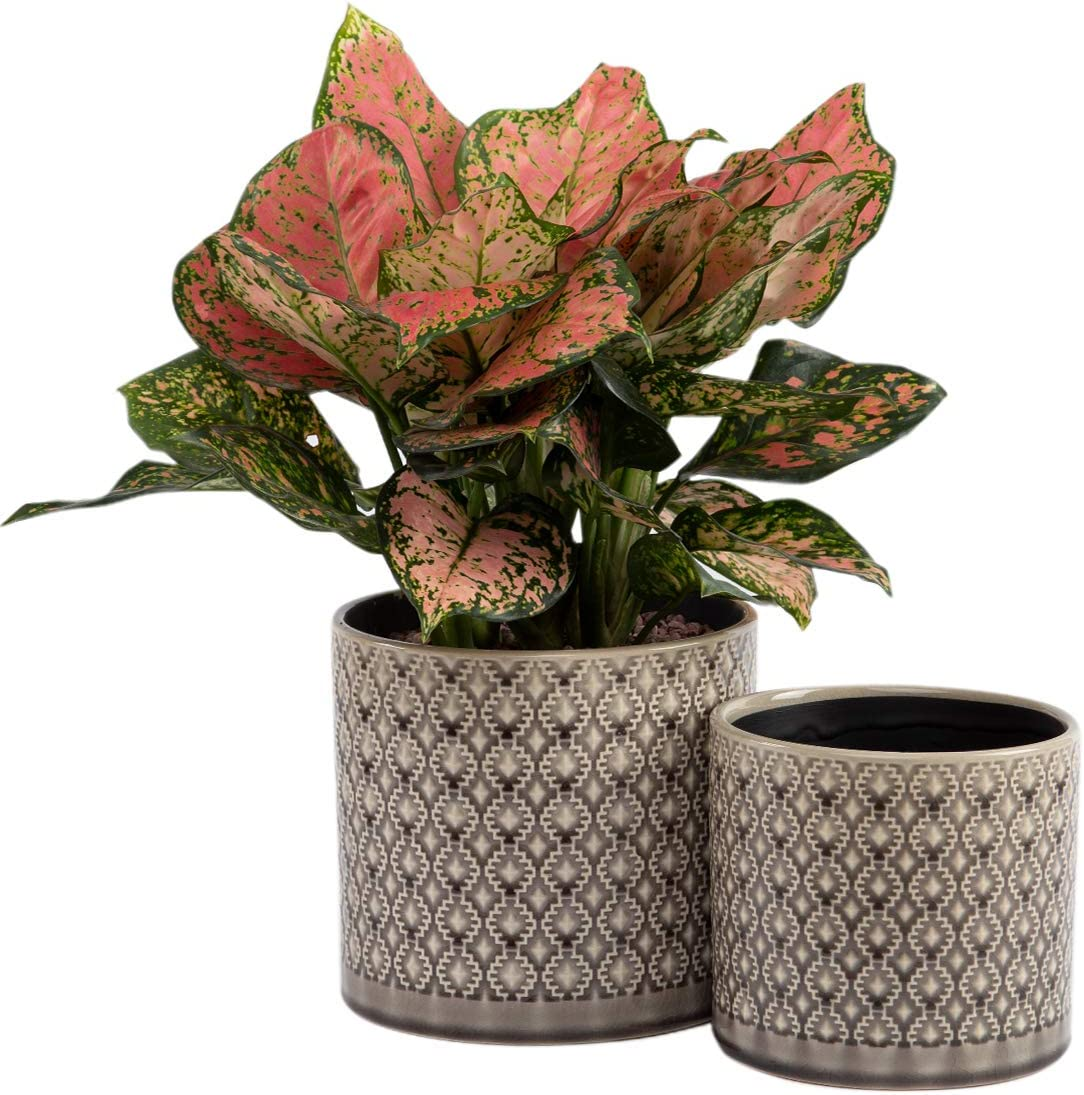 "KYY Ceramic Planters Garden Flower Pots 6.5"" and 5.5"" Set of 2 Indoor Outdoor Modern Plant Containers (Brown Grey Diamond Pattern)"