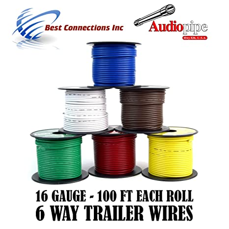 Amazon.com: Trailer Wire Light Cable for Harness 6 Way Cord 16 Gauge on 6 way trailer lights, 6 way trailer cable, 6 way trailer hitch wiring, 6 way ignition switch, 6 way trailer connector,
