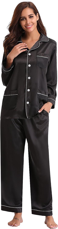 Pigiama di Cotone Lungo Donna Pigiama da Donna Cotone Invernale con Bottoni Pigiami Due Pezzi Donna Camicia da Notte Sleepwear Tutte Le Stagioni Aibrou Pigiama Donna Cotone 100/%