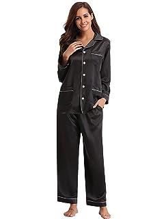 Aibrou Women s Satin Pajamas Set Long Sleeve and Long Button-Down Sleepwear  Loungewear 28e782a92