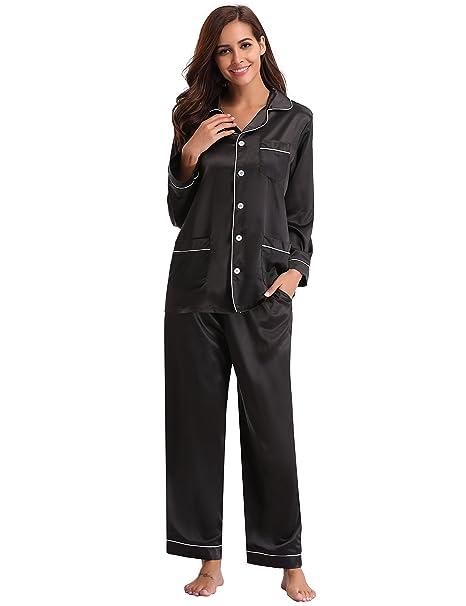 b3aa6a042 Aibrou Women s Satin Pajamas Set Long Sleeve and Long Button-Down Sleepwear  (S