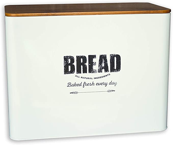 Bread Box For Kitchen Countertop Metal With Bamboo Lid Traditional Farmhouse Style Large Kitchen Counter Storage Bins For Fresh Loaves Crackers Rustic White Kitchen Dining