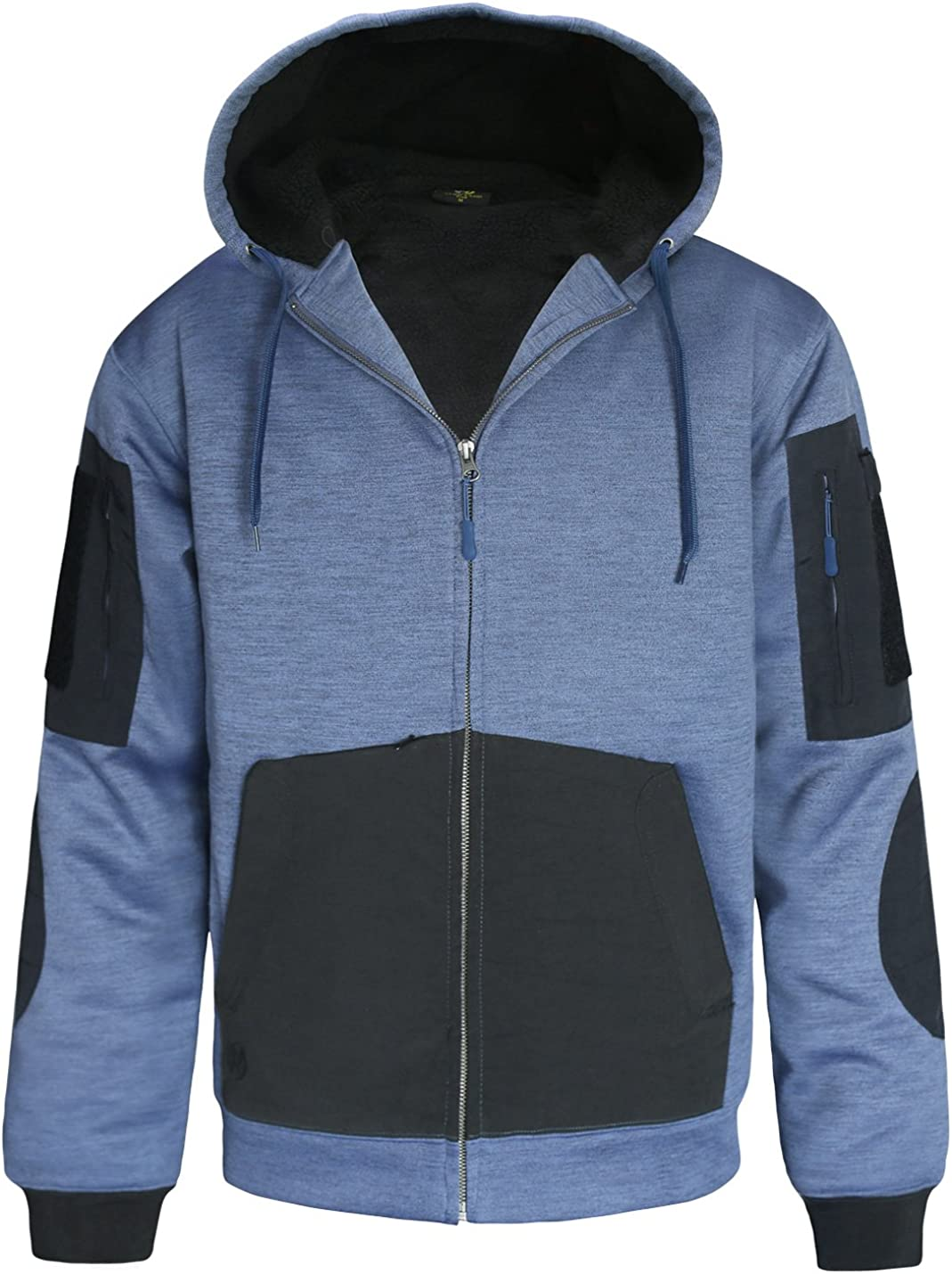 HARD LAND Men's Heavyweight Sherpa Lined Hoodie Zip Up Hooded Sweatshirt Winter Fleece Jacket