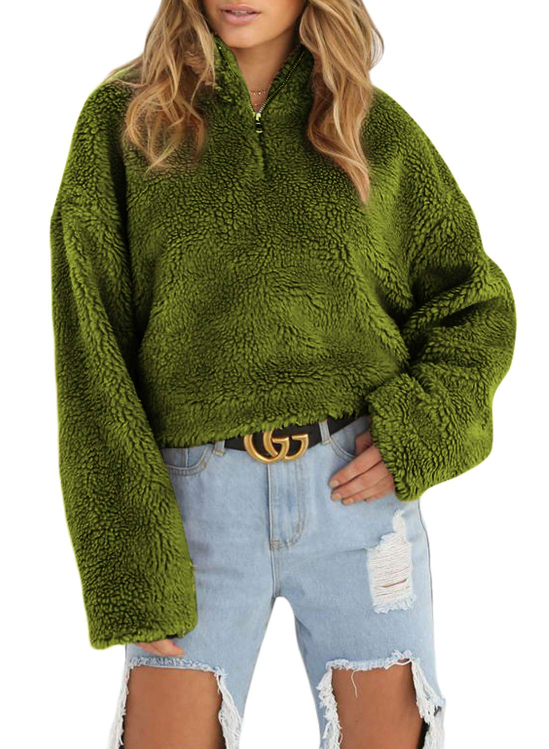 Asvivid Womens Casual Oversized 1/4 Zipper Faux Fur Fleece Jumper Baggy Loose Pullover Outerwear Plus Size 2X Green