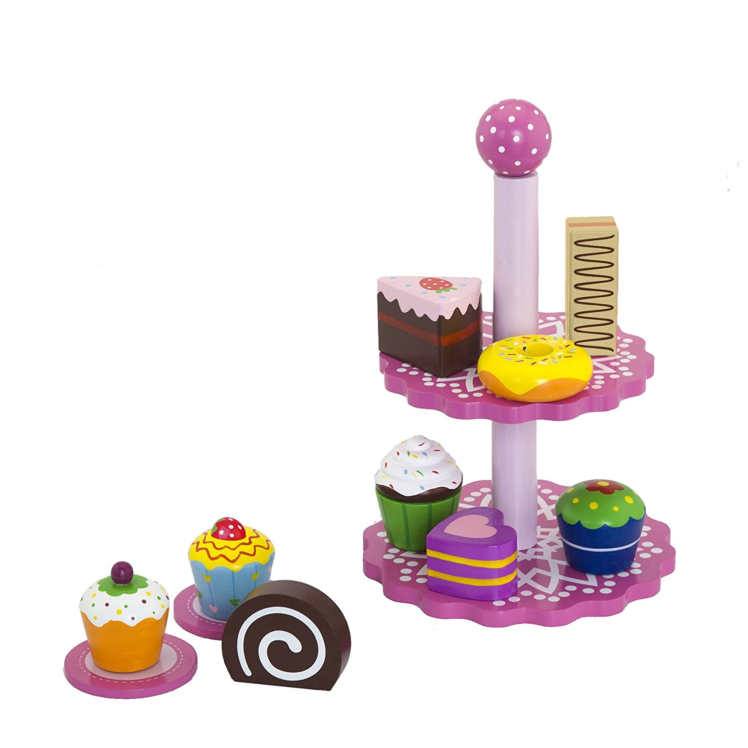 Vortigern #51024 - Wooden Toy Tea Party Set of Cupcakes with Pink Cake Stand and Two Plates V51024stand