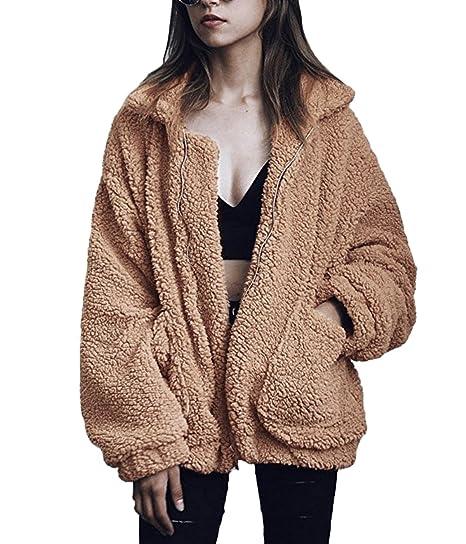 Mode Lange Jacke Reißverschluss Damen Mantel Steppjacke Plüschjacke Parka Ärmel Winter Outwear 8OXnPkw0