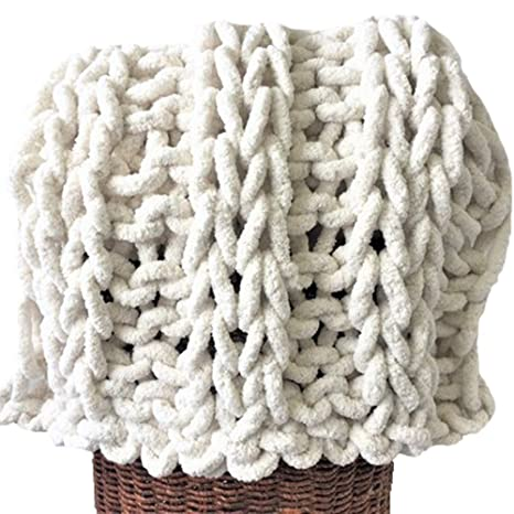 Amazon com: 79x79in Chunky Knit Vegan Blanket,Chunky
