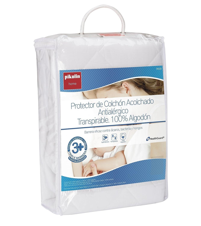 Pikolin Home - Protector de colchón acolchado cubre colchón, antialérgico, antiácaros, antibacterias y antimoho, transpirable, 100% algodón, 135 x 190/200 ...