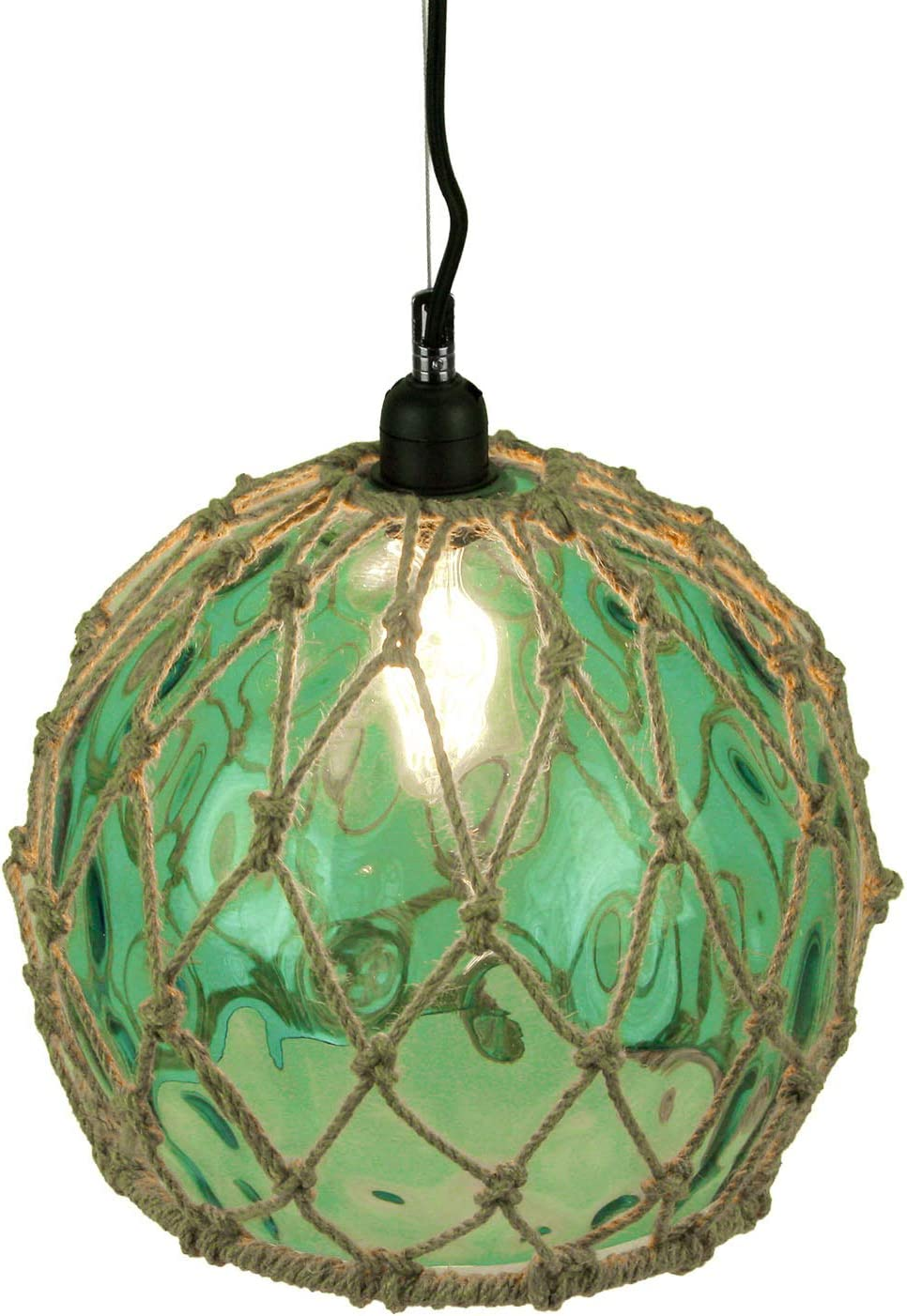 Green Glass Rope Wrapped Pendant Light Coastal Ceiling Lamp