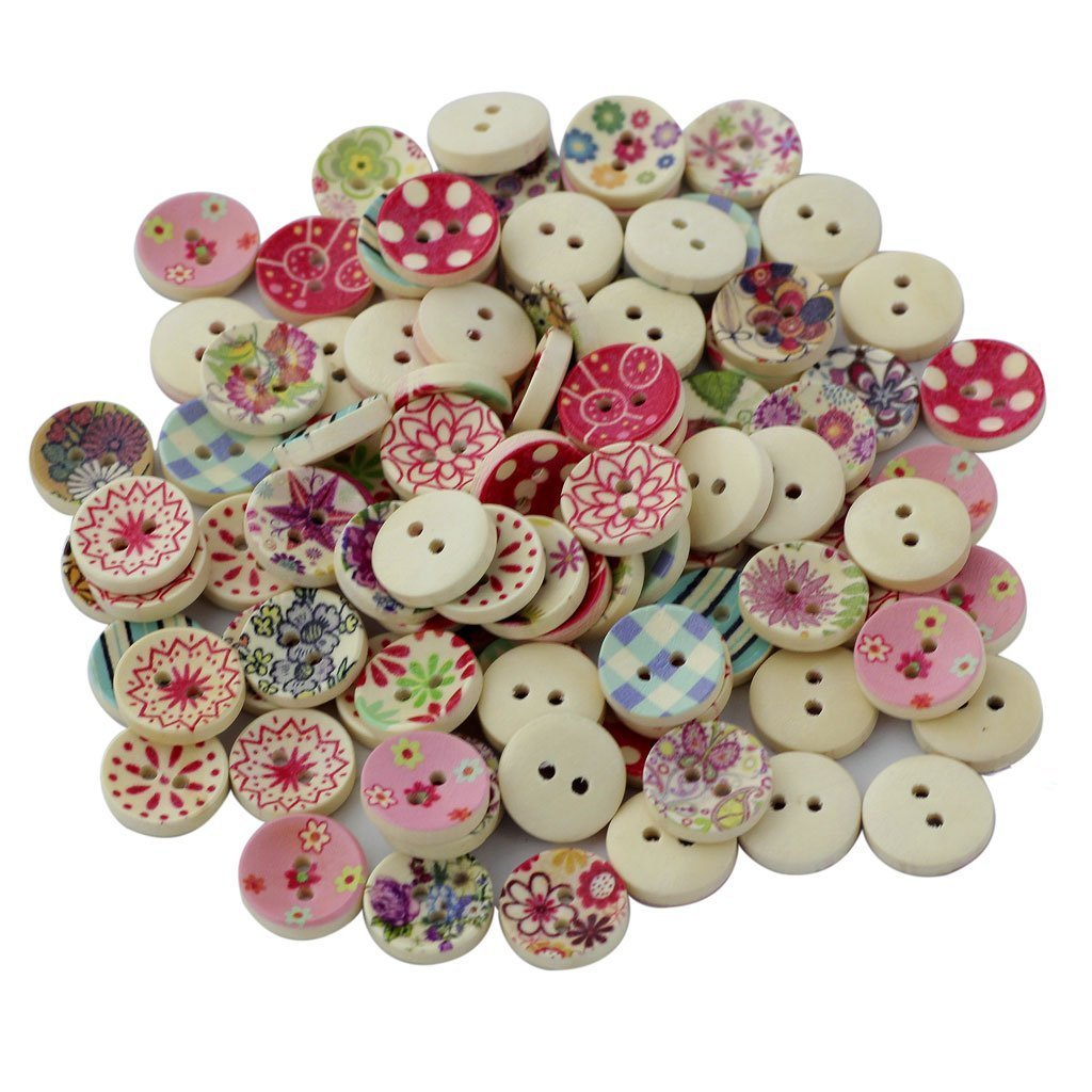 100pcs Wooden Buttons for Sewing and Crafting Craft Button Ver. Form Queta
