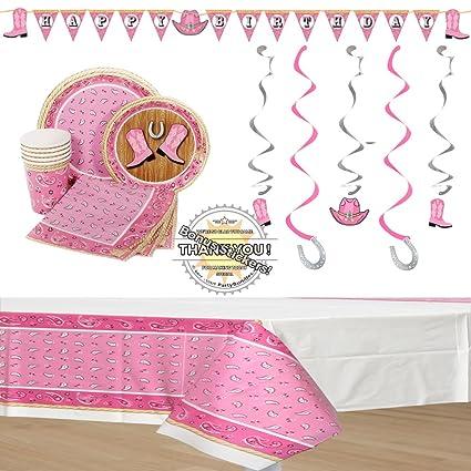 Amazon.com: Rosa decoraciones fiesta de cumpleaños ...