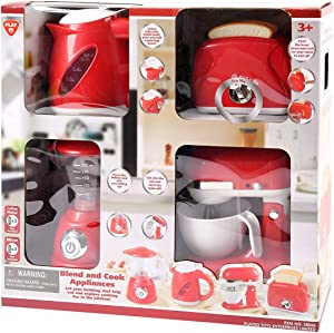 PlayGo Kitchen Appliances Child Kettle, Blender, Mix Master and Toaster Pretend - My First Kitchen Appliance for Toddlers - Complete Set of Kitchen Appliances with Contemporary Styling