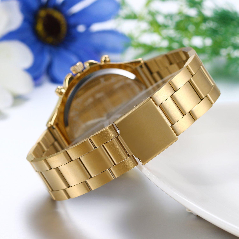 Amazon.com: JewelryWe Lot of 3 Wholesale Luxury Women Men Unisex Gold Tone Stainless Steel Band Quartz Watches: Watches