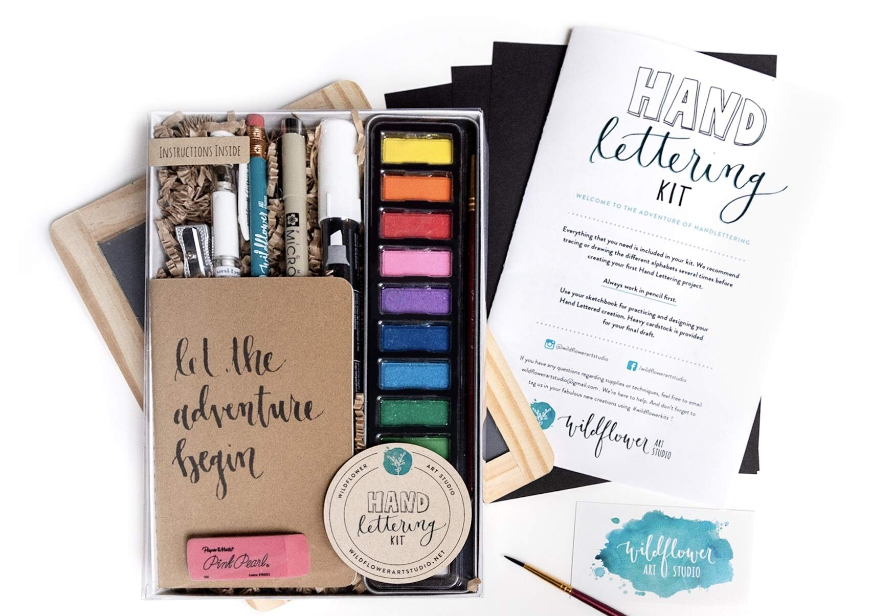 Hand Lettering Kit - Beginning Hand Lettering Set with Instructional Booklet and 4 Practice Alphabets - DIY Hand Lettering for Beginners by Wildflower Art Studio