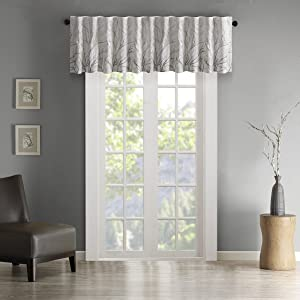 "Andora Embroidered Rod Pocket Valance , Tree Small Faux Silk Valances for Window , 50X18"" , White"