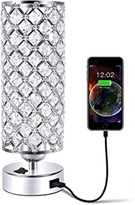 USB Crystal Table Desk Lamp with USB Port, Acaxin Elegant Bedside Light with Crystal Shade, Glam Lamps for Bedrooms, Decorative Lamp, Nightstand Lamp for Bedroom/Living Room/Dressing Room