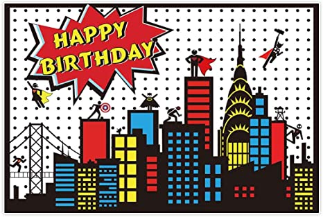 Allenjoy 5x3ft Superhero Themed Backdrop Super City Skyline Building Children Boy 1st Birthday Party Decoration Supplies Props Favors Event Banner ...
