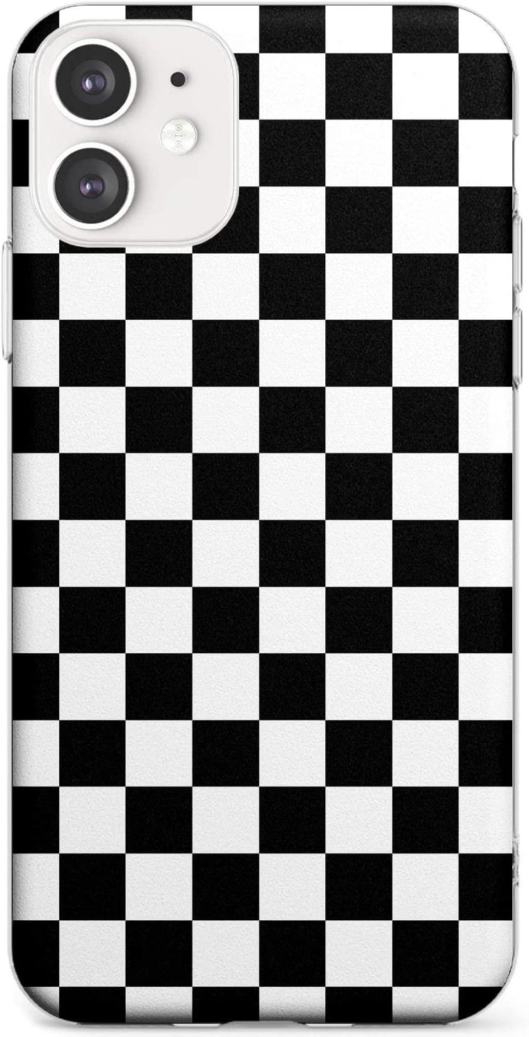 Negro A Cuadros Funda de Teléfono de Goma Slim Cover para iPhone 11 Tablero De Damas Tartán Comprobado Patrón Inspector