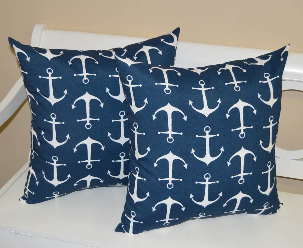 Resort Spa Home Decor Set of 2 – Indoor Outdoor 20 Square Decorative Throw Toss Pillows – Nautical Navy Blue with White Anchors