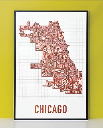 Amazoncom Framed Chicago Neighborhoods Map Art Poster Red - Chicago neighborhood map art