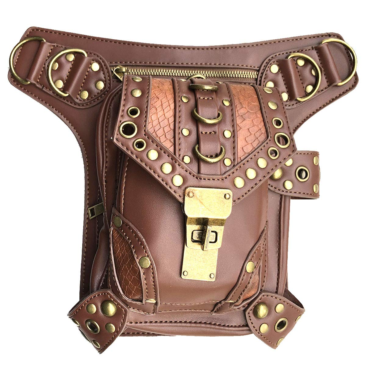 Steampunk Waist bag Fanny Pack Retro Fashion Gothic Casual Leather Shoulder Crossbody Messenger Bags Punk Rock Thigh Leg Hip Holster Purse Pouch Travel Hiking Sport Chain Bags for Women Men