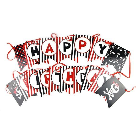 Sunbeauty Cumpleaño Guirnalda Pirata Decoración para Niños Fiesta Tema Piratas Calaveras Happy Birthday (2 m)