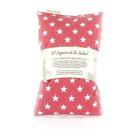 Saco Térmico de Semillas aroma Lavanda, Azahar o Romero tejido Rojo con Estrellas (Azahar, 50 cm)