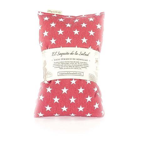 Saco Térmico de Semillas Aroma Lavanda, Azahar o Romero Tejido Rojo con Estrellas (Lavanda, M (50 x 15 x 2 CM con Funda))