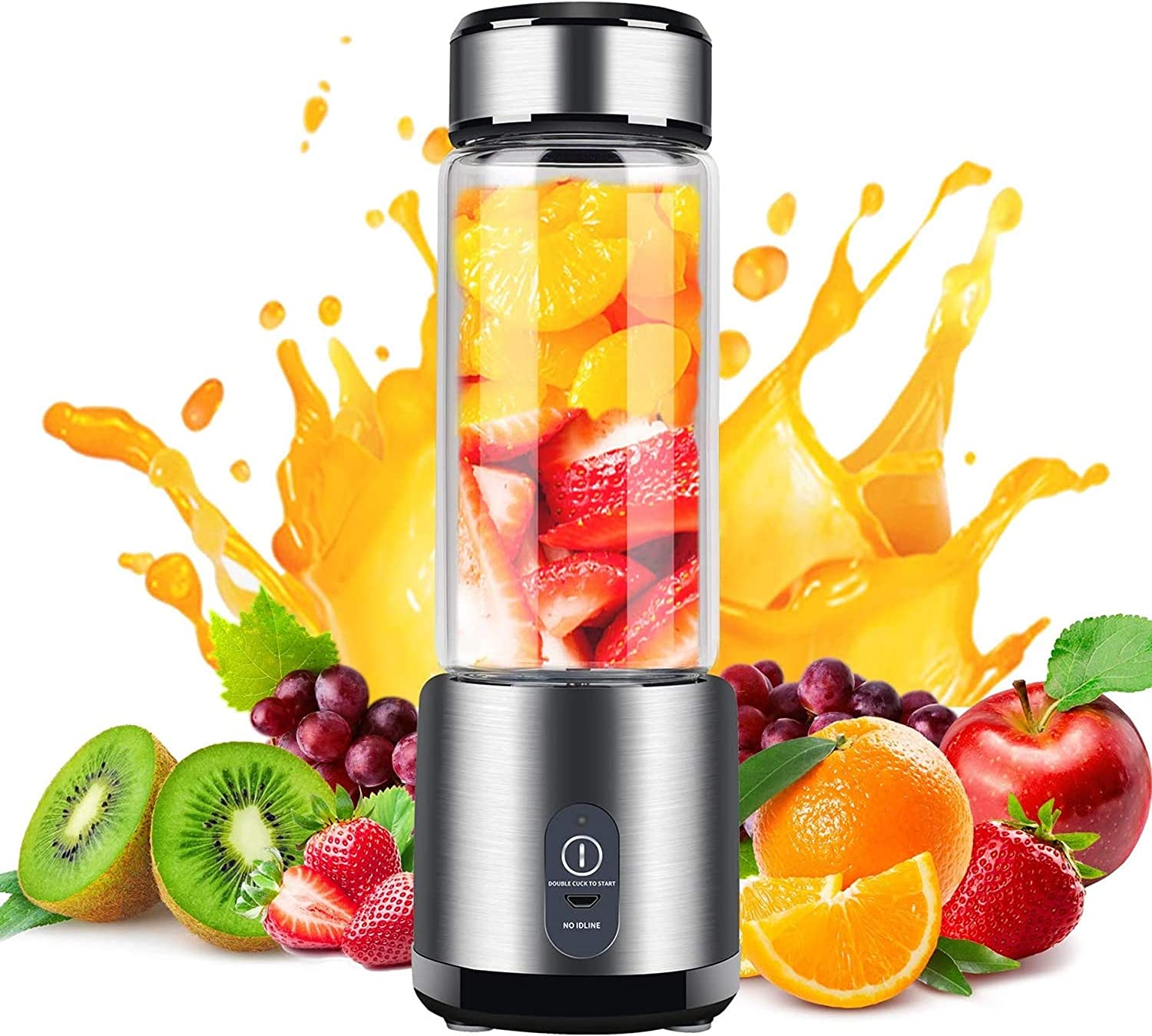 Portable Blender, Stainless Steel and Glass Body, Electric Juicer Cup Personal Size with USB Rechargeable, Mini Juice Mixer for Shakes Smoothies Home Outdoor
