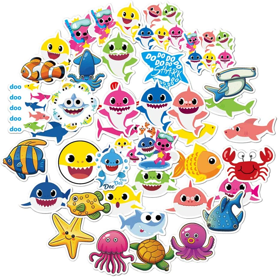 40 Pcs Cute Baby Shark Stickers, Little Baby Shark Waterproof Vinyl Stickers for Water Bottles, Laptop Stickers, Skateboard, Luggage, Phone, Ipad, Graffiti Decals, Kids Baby Shark Themed Party