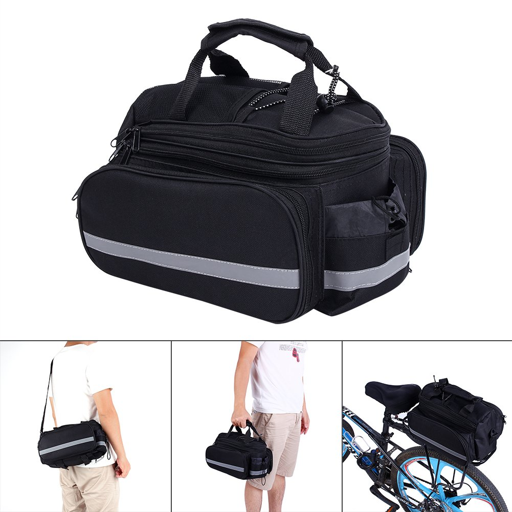 Bike Pannier Bag, Practical Bicycle Rear Seat Trunk Handbag Expandable Excursion Cycling Carrying Luggage With Reflective Stripe, Rainproof Cover- Black Yosoo