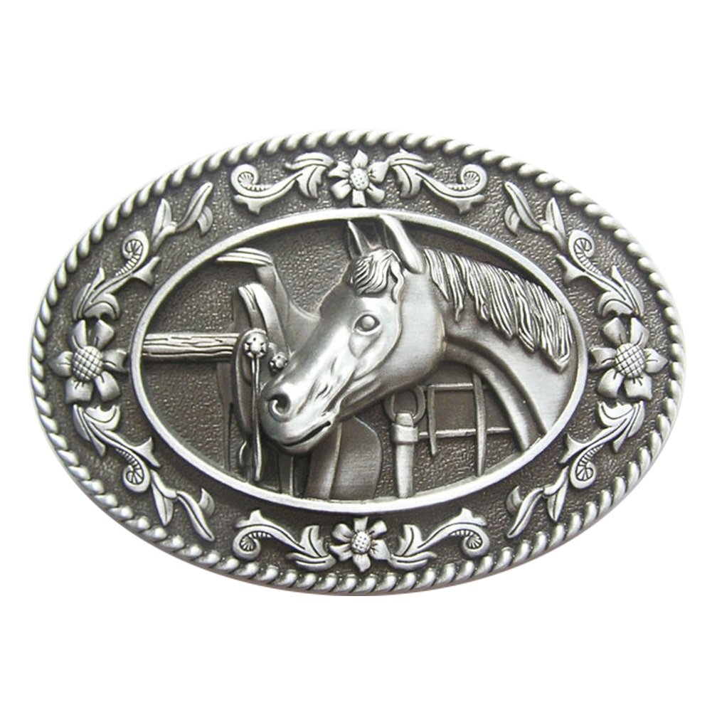 New Vintage Horse Head Saddle Western Oval Belt Buckle Gurtelschnalle