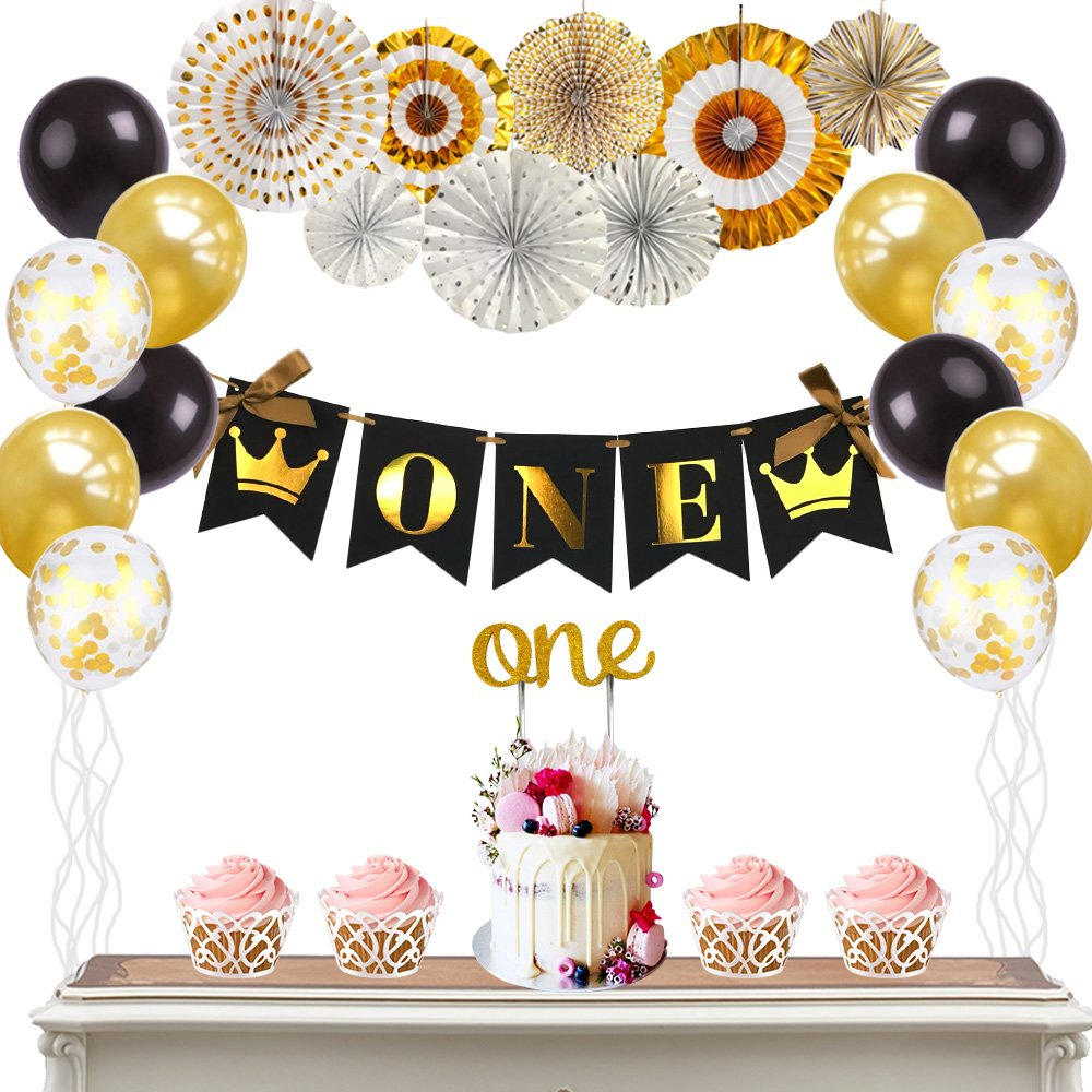 Boys Gold Black First Birthday Party Decoration Kit 8pcs Paper Fans1st BannerGold One Cake Topper And Balloons Amazon Grocery