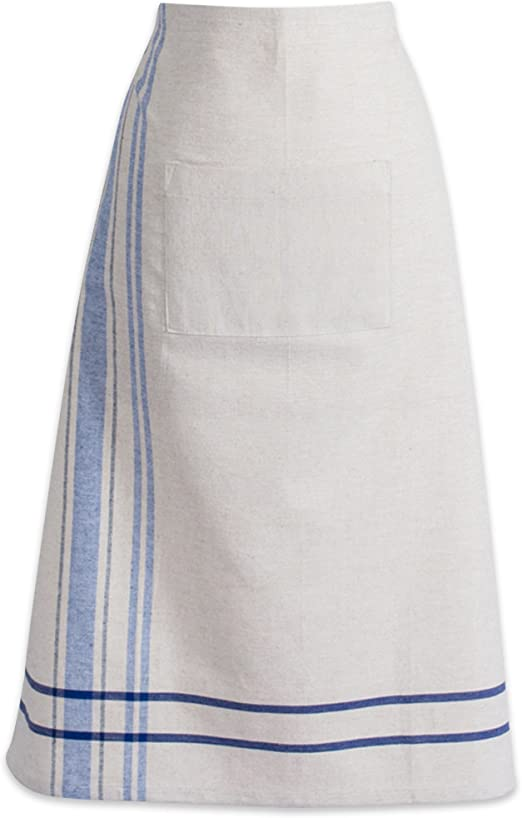 DII Cotton Chambray Bistro Half Waist Apron with Pockets and Extra Long Ties 30