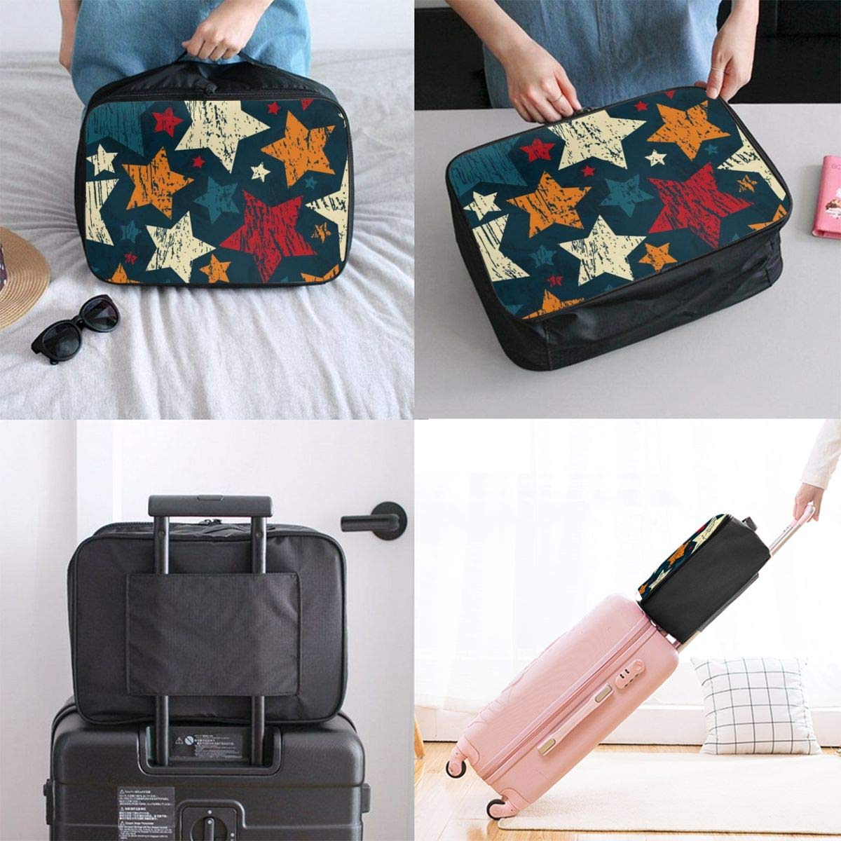 Cartoon Stars In Navy Blue Travel Lightweight Waterproof Foldable Storage Carry Luggage Duffle Tote Bag Large Capacity In Trolley Handle Bags 6x11x15 Inch