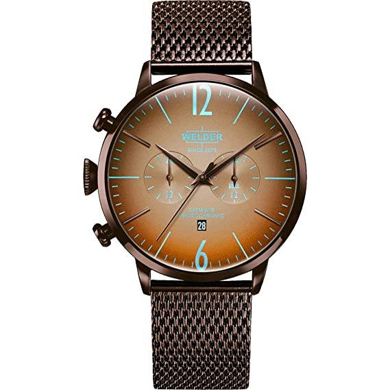 WWRC415 Welder Moody - Reloj para hombre en acero con acabado IP marró, con crono y calendario. Armys tipo malla.: Amazon.es: Relojes