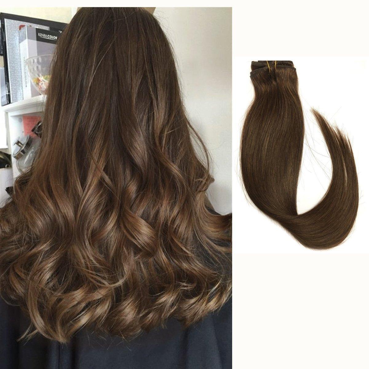 Amazon Clip In Human Hair Extensions Medium Brown 427