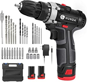 Cordless Drill Set, 12.8V Portable Drill Driver Cordless Power Drill with 2 Batteries, 31 Pcs Accessories, 25+1 Clutch, 2/5