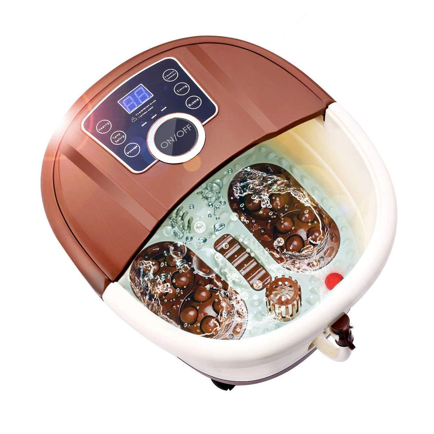 Foot Spa Bath Massager with Heat, 16 Pedicure Spa Motorized Shiatsu Roller Massaging Acupuncture Point, Frequency Conversion, O2 Bubbles, Adjustable Time Temperature, LED Display