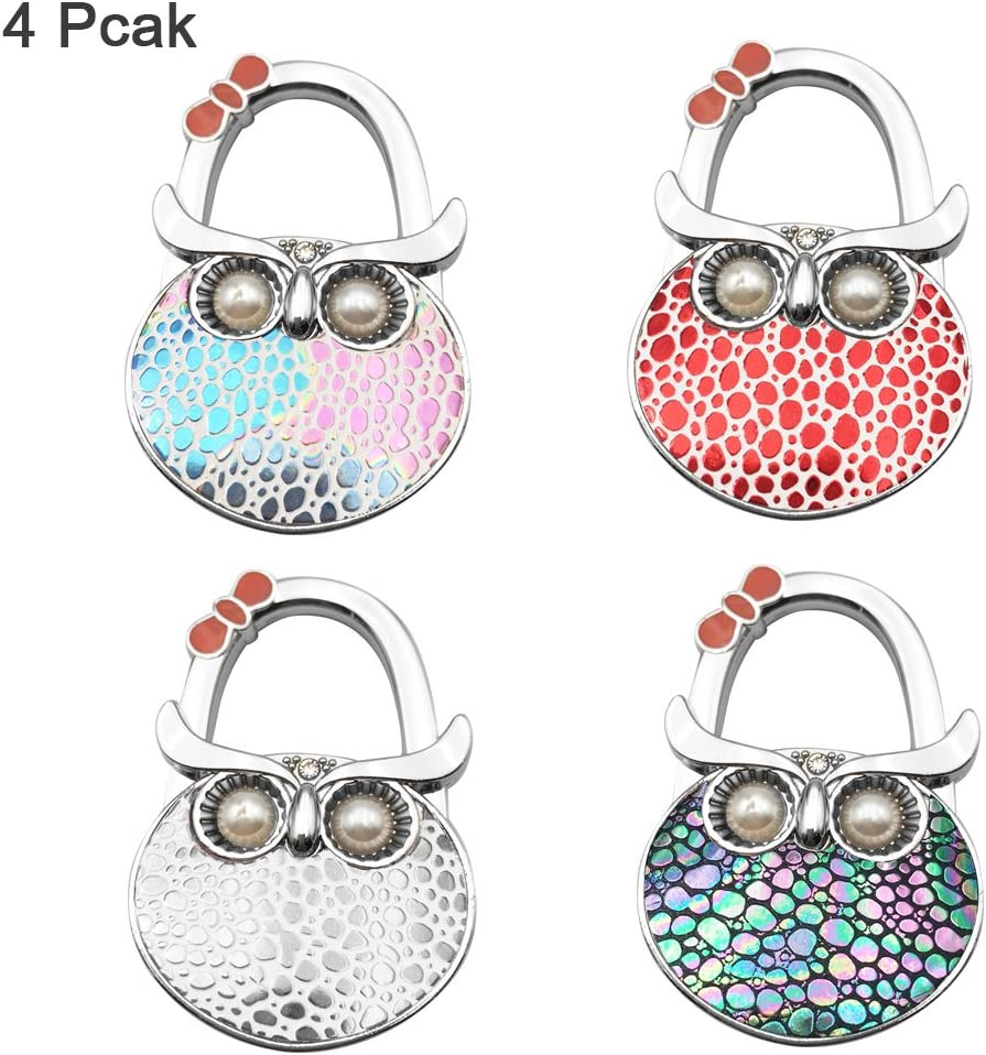 FOME Handbag Hanger, Set of 4 Foldable Purse Hook Purse Table Hook Holder Owl Shape Bag Hanger Hook 4.72x1.77in Mixed Color