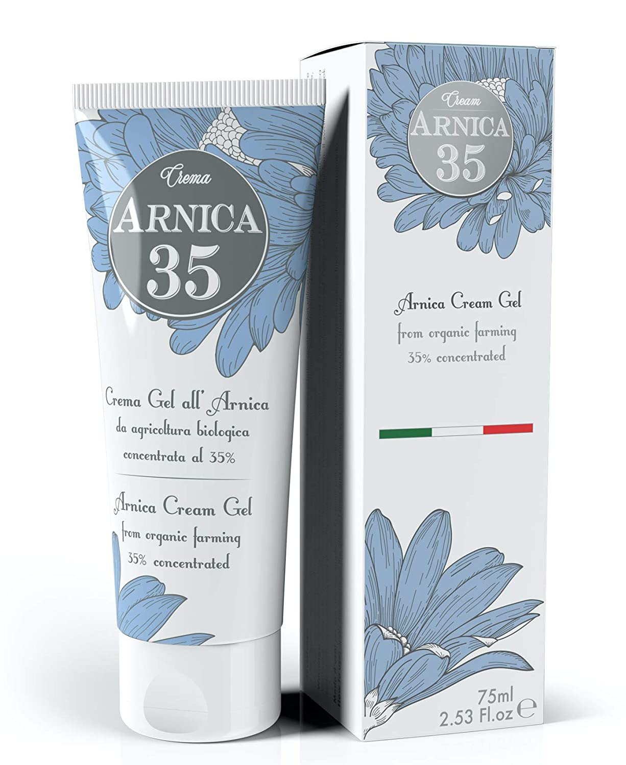 Dulàc - Arnica 35 - THE MOST CONCENTRATED - Arnica Gel Cream with a 35% concentration - Specific for Bruises, Neck Pain, Back Pain, Shoulder Pain, Leg and Foot Pain, Muscle Pain - 2.53 Fl.oz
