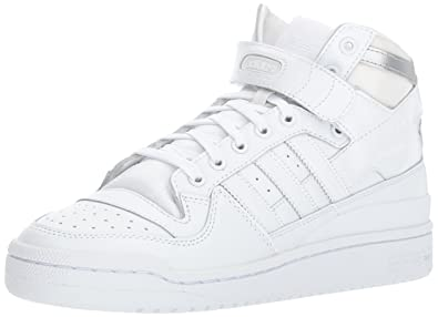 adidas Originals Men's Forum Mid Refined Fashion Sneaker,  White/White/Metallic Silver,