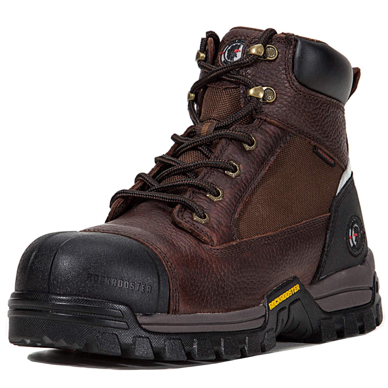 ROCKROOSTER Work Boots for Men, Composite/Soft Toe Waterproof Safety Working Shoes (11 M US, Composite Toecap- Dk BRN)