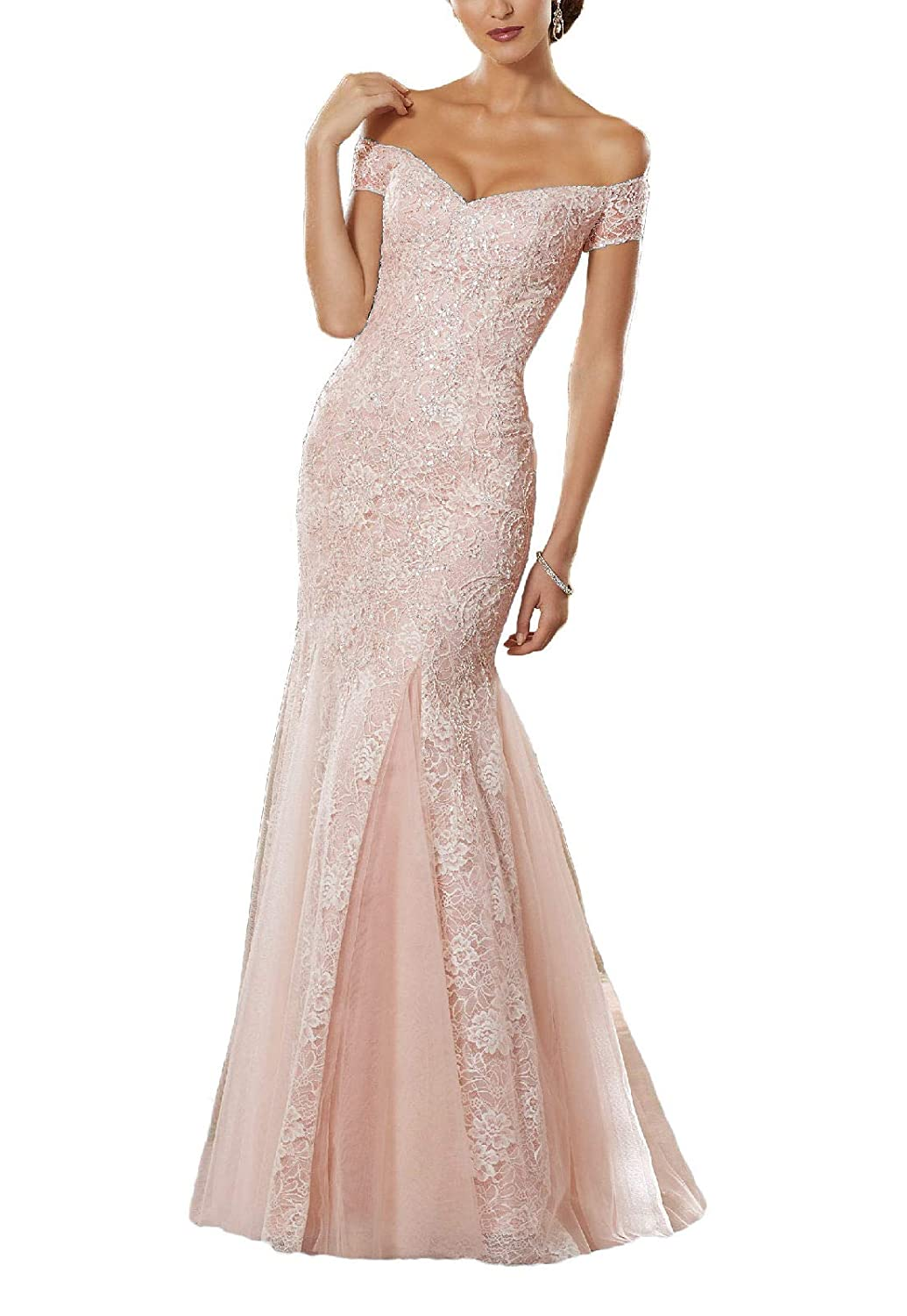 Pearl Pink Yisha Bello Women's Off The Shoulder Mermaid Crystal Beaded Prom Dress Long Lace Evening Formal Gowns