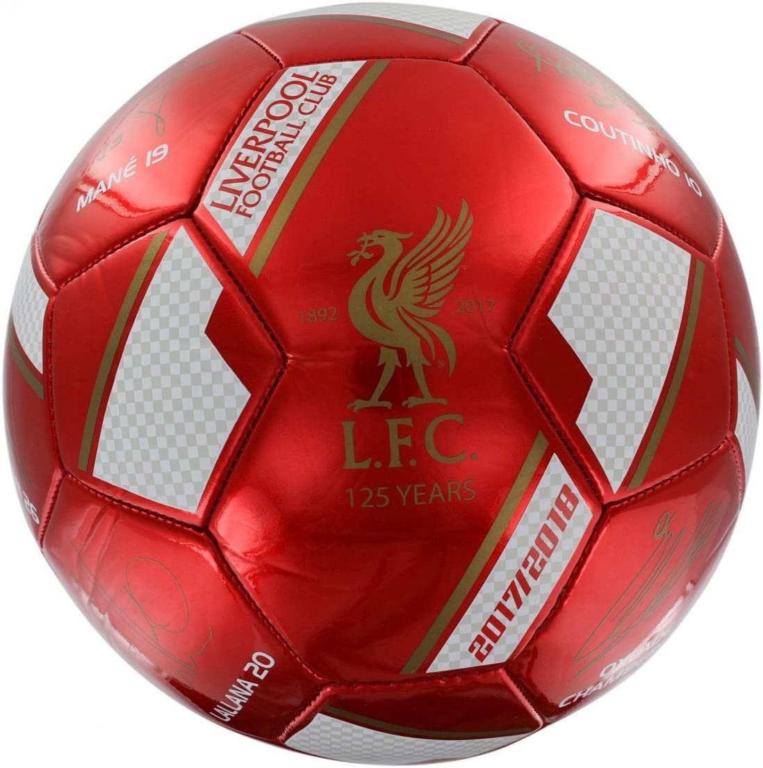 FC Liverpool firmas Ball, color rojo, tamaño 5: Amazon.es ...